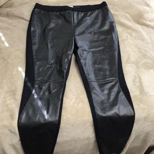 trouve leather+knit leggings